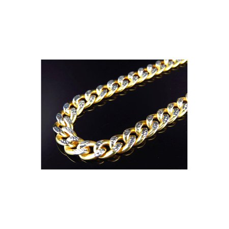 10K Yellow Gold Diamond Cut Hollow Miami Cuban Link Chain Necklace 8MM - White Gold 8mm Box Chain