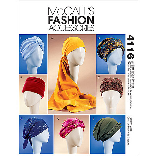 McCall's Pattern Misses' Turban, Headwrap and Caps, All Sizes in 1 Envelope