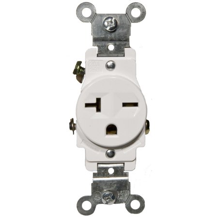 Receptacle Set (20A-250V Industrial Grade Single Receptacle in White [Set of 3])