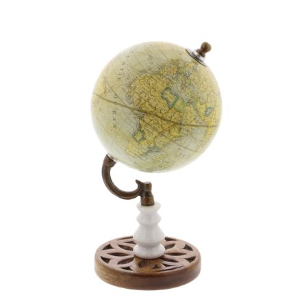 Decmode Modern 10 Inch Matted Yellow Marble And Mango Wood Globe, Yellow