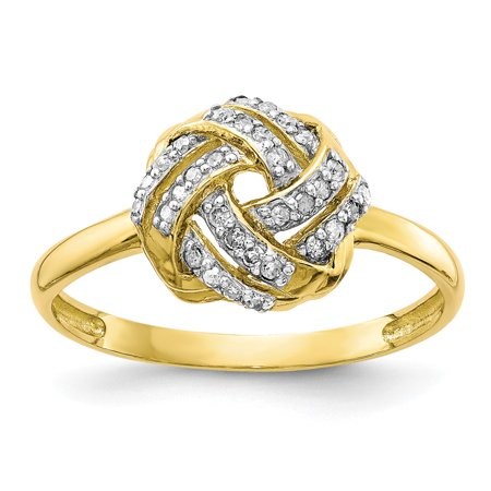 Roy Rose Jewelry 10K Yellow Gold Tiara Collection Polished Diamond Ring ~ Size: 7