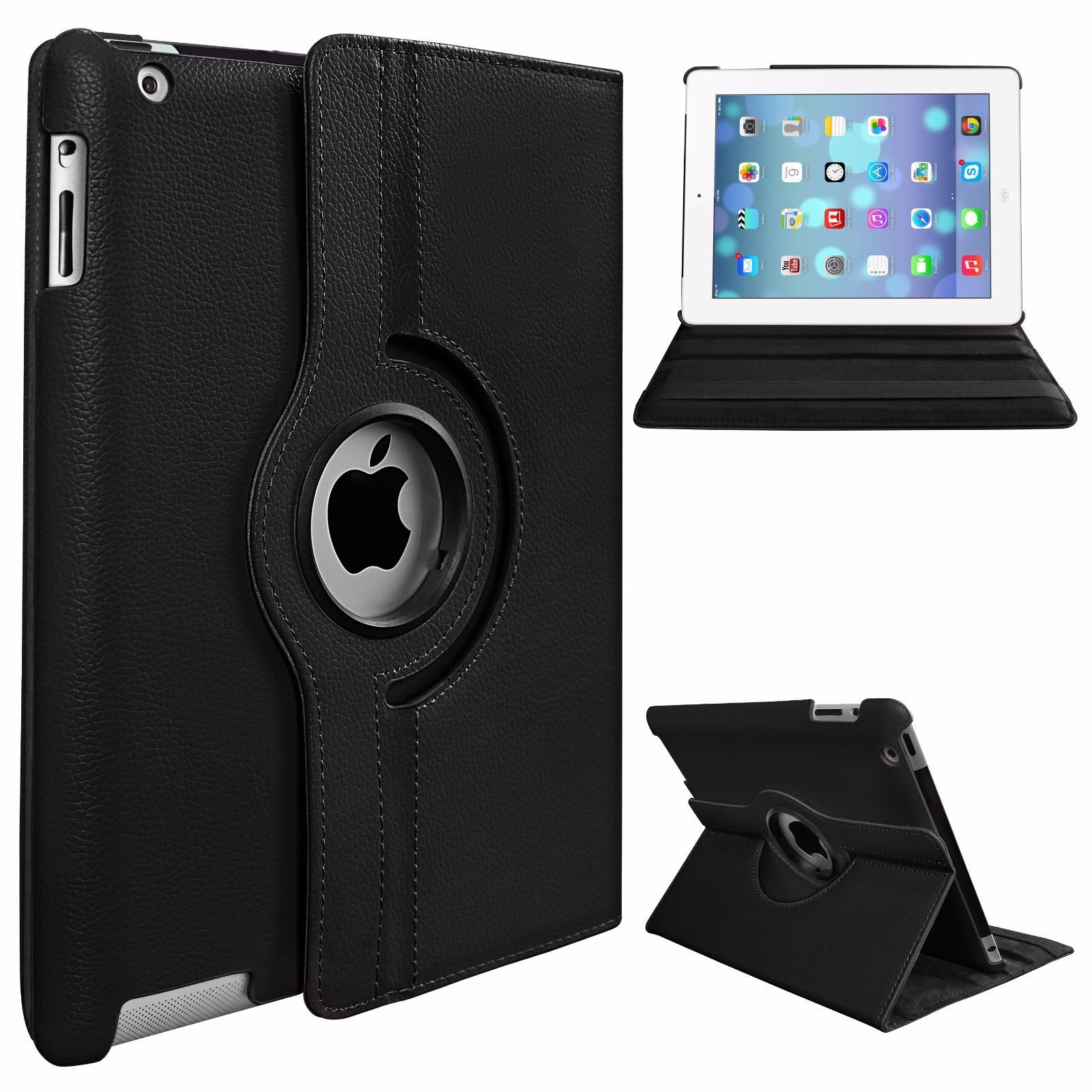 PU Leather Smart Stand Flip Case Cover for Apple iPad mini 4 360 Rotation Tablet Full Protector Case