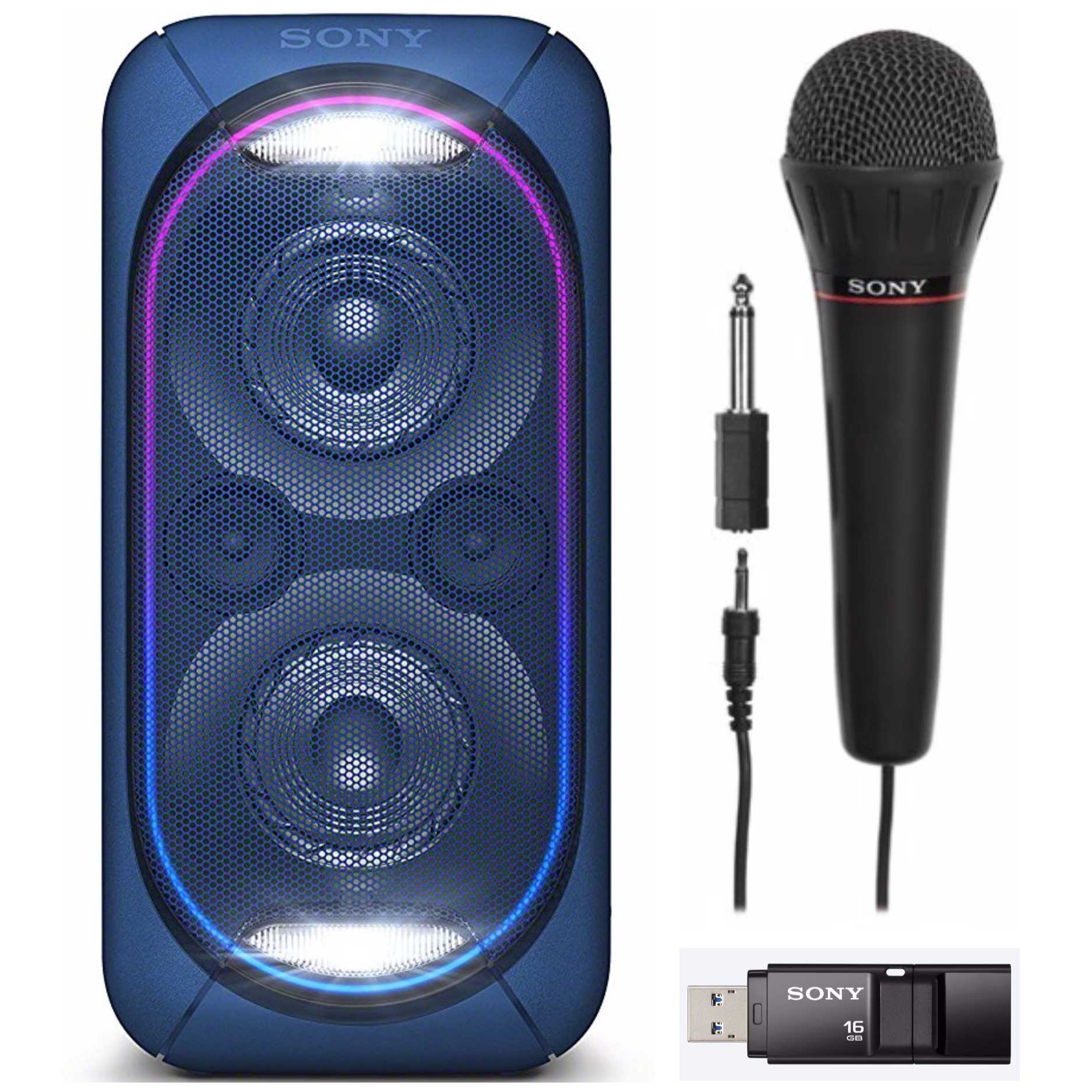 Sony High-Power Portable Bluetooth Audio System (Blue) With Microphone  Bundle
