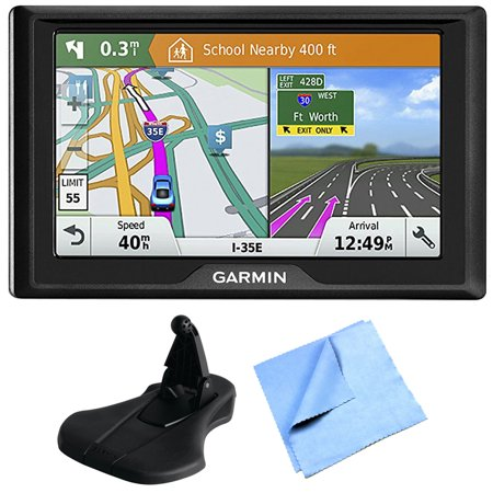 Garmin Drive 51 Lm Gps Navigator With Driver Alerts Usa  010 01678 0B  With Portable Friction Dashboard Mount   1 Piece Micro Fiber Cloth