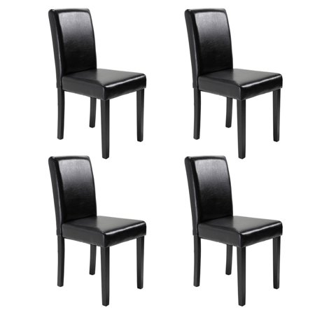 Style Solid Wood - Top Knobs Set of 4 Urban Style Leather Dining Chairs with Solid Wood Legs Chair, Padded Dining Room Furniture