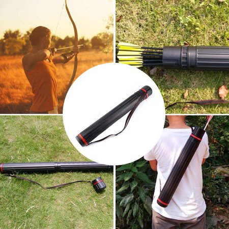 Yosoo Arrow Quiver, Adjustable Archery Case Hunting Back Arrow Quiver Tube with Back Strap, Extendable Telescopic Archery Case Holder, Black