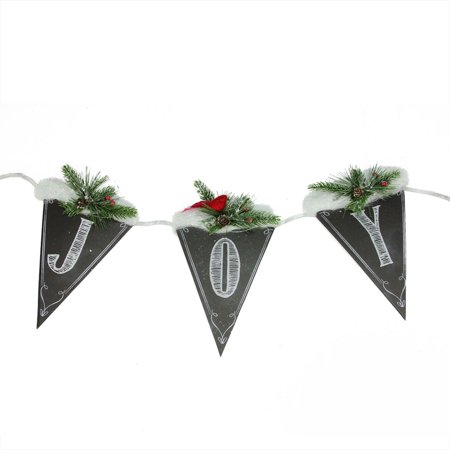 "32"" Black and White Chalkboard Style Snow and Pine Covered ""Joy"" Hanging Christmas Banner"