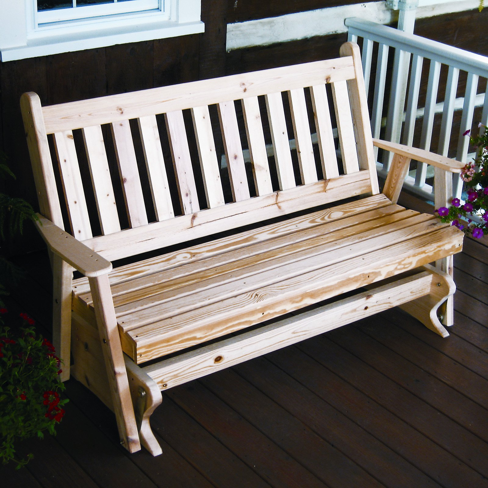 A & L Furniture Yellow Pine Traditional English Outdoor Bench Glider