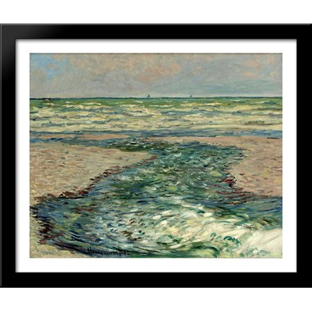 The Seacoast Of Pourville  Low Tide 34X28 Large Black Wood Framed Print Art By Claude Monet