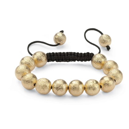 - Textured Ball Beaded Bracelet in Yellow Gold Tone and Macrame Rope 8
