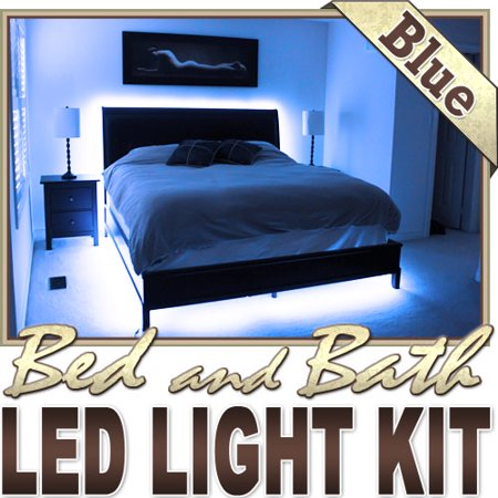 Biltek 6\' ft Blue Bedroom Dresser Headboard LED Lighting Strip + Dimmer +  Remote + Wall Plug 110V - Headboard Closet Make Up Counter Mirror Light ...