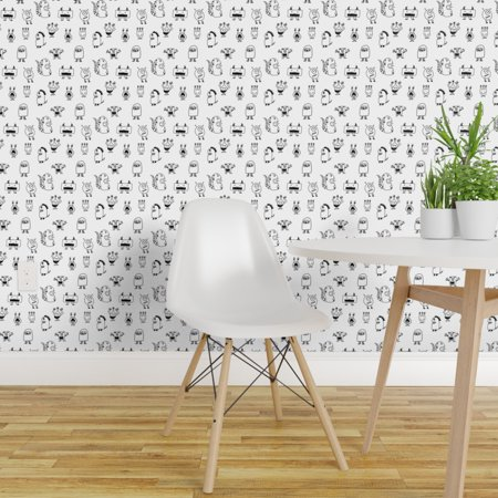 Wallpaper Roll Monster Monsters Black White Kids Room And Coloring 24in x 27ft