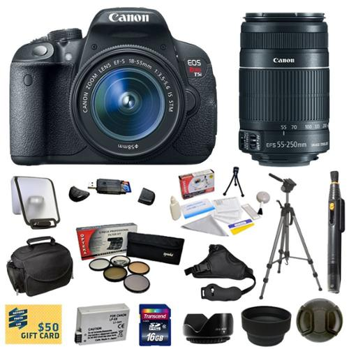 Canon EOS Rebel T5i 18.0 MP CMOS Digital Camera with EF-S 18-55mm f/3.5-5.6 IS STM Zoom Lens + EF-S 55-250mm f/4.0-5.6 IS Telephoto Zoom Lens With 16GB SDHC Card + LP-E8 Battery + Pro 5 Piece Filter