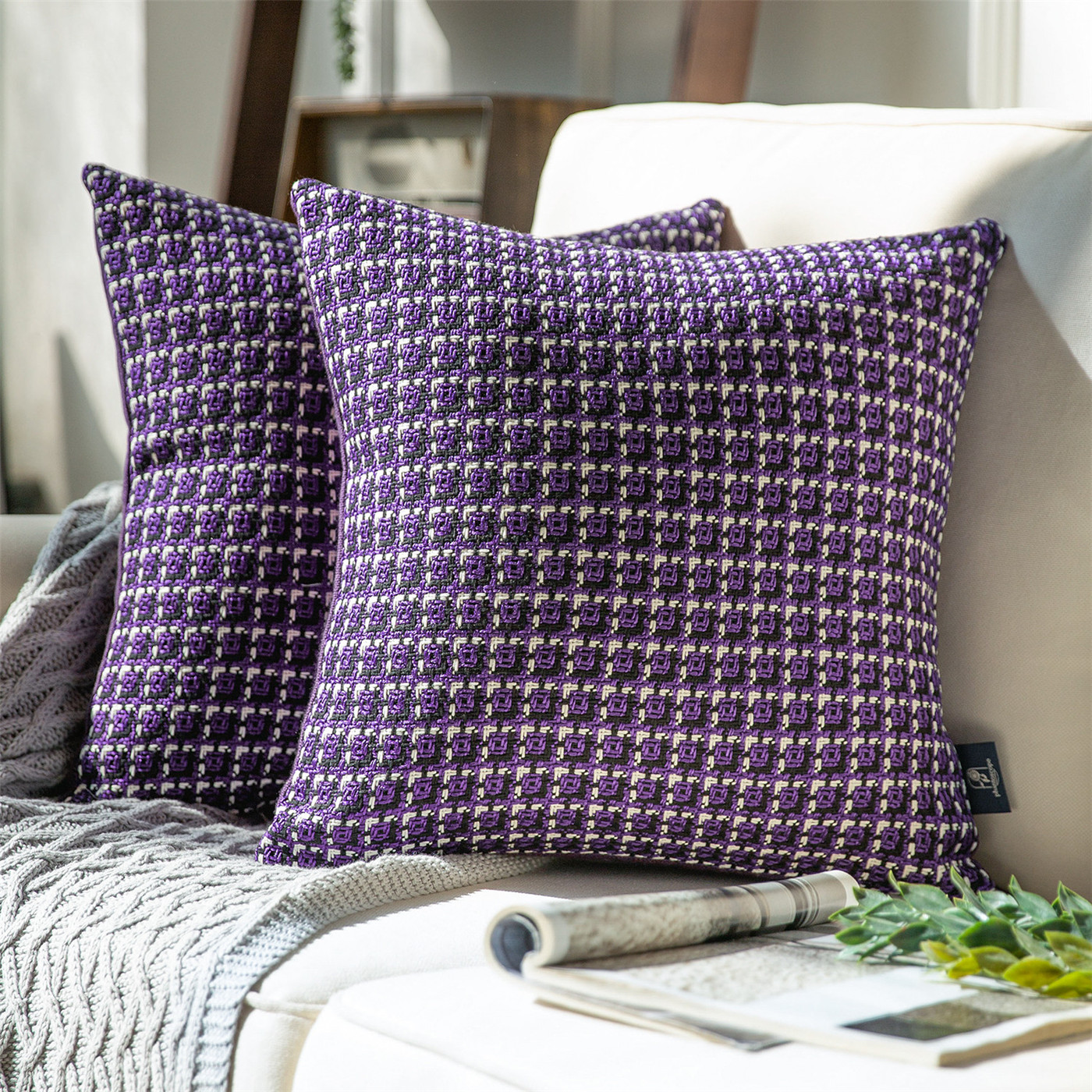 Phantoscope Classic Woven Textured Geometric Houndstooth Pattern Series Decorative Throw Pillow 18 X 18 Purple 2 Pack Walmart Com Walmart Com