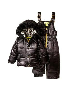 Catherine Malandrino Girls 12-24 Months Satin Leopard Snowsuit (Black 18 Months)