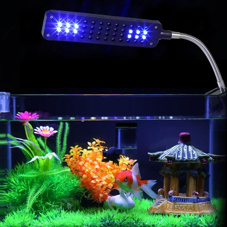 - Aramox LED Aquarium Light, Fish Tank White Blue Lamp,48 LED Aquarium Light Flexible Arm Clip on Plant Grow Fish Tank White Blue Lamp