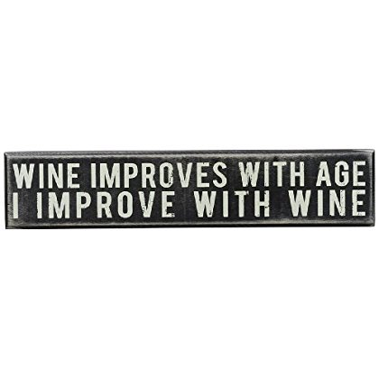 Engraved Wine Gift Box (Primitives by Kathy Box Sign, 12 by 2.5-Inch, Wine Improves )