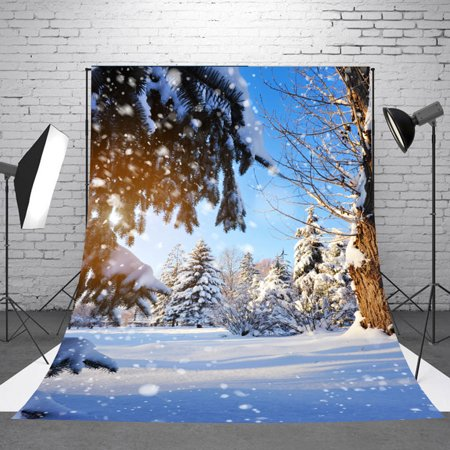 NK HOME 5x7ft Christmas Backdrop Winter White Snow Wonderland Backdrop Christmas Pine Tree Snowflake Forest Photography Background Bokeh Outdoor Banner Party Decorations Photo Studio Props - Winter Onederland Decorations