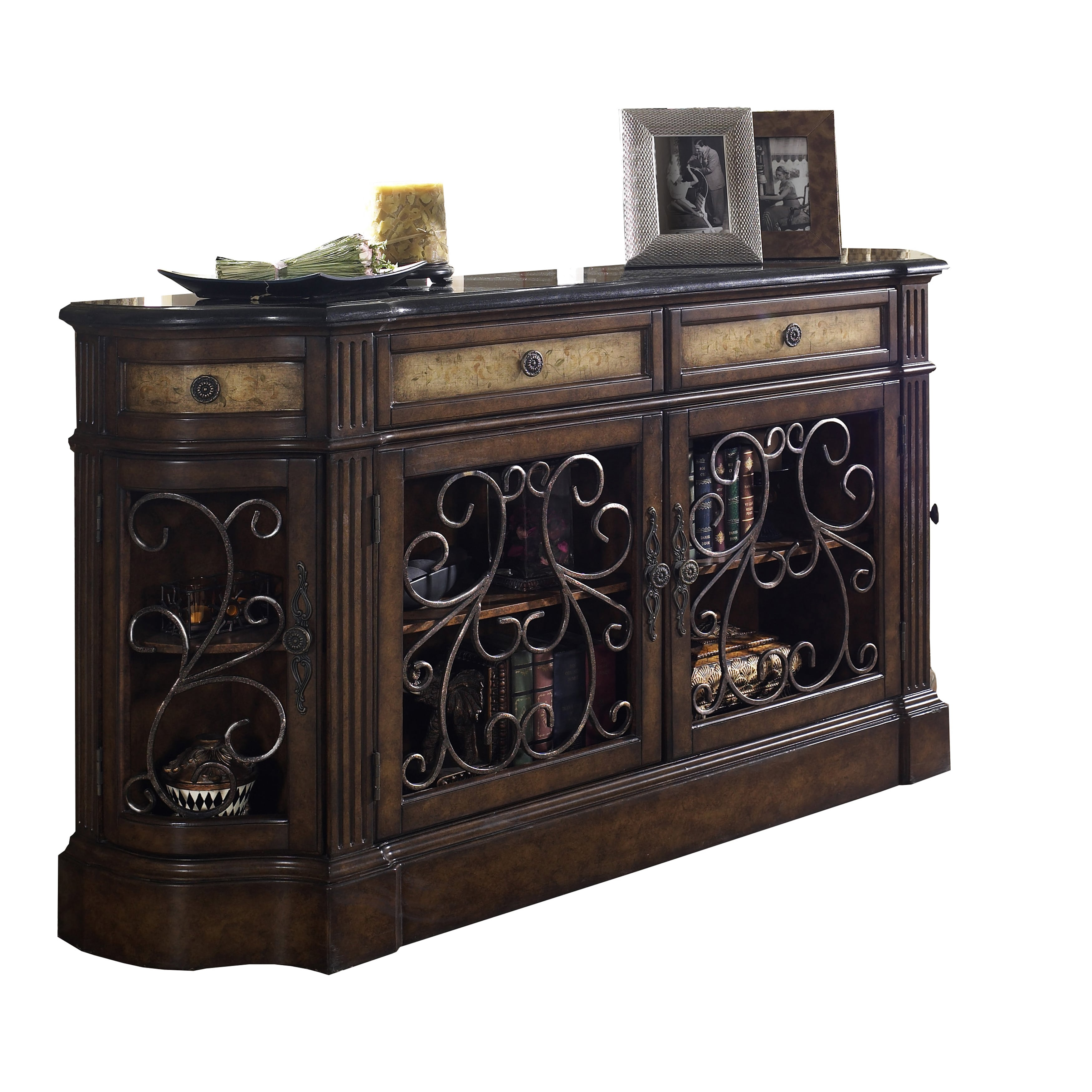 Sofaweb.com Hand-painted Distressed Carmel Brown Credenza