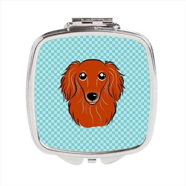 Carolines Treasures BB1152SCM Checkerboard Blue Longhair Red Dachshund Compact Mirror, 2. 75 x 3 x . 3 inch