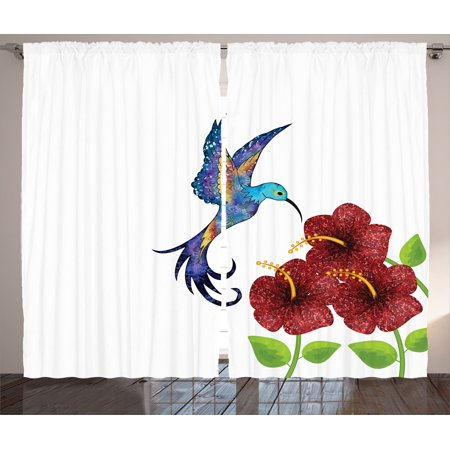 Hummingbirds Decorations Curtains 2 Panels Set, A Hummingbird In Flower Garden Fantasy Tails Wings Imaginative Artwork, Living Room Bedroom Accessories, Gift Ideas, By
