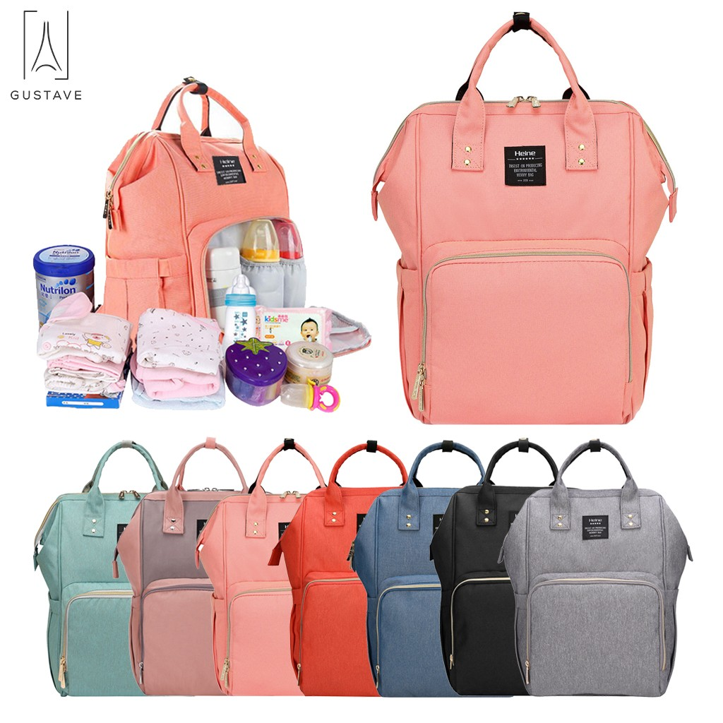 GustaveDesign Large Capacity Baby Diaper Bags Oxford Waterproof Travel Maternity Backpack For Baby Nappy Milk Bottle