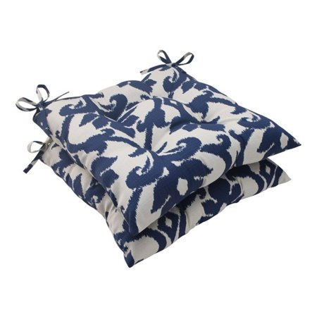 Victorian Outdoor Pillows : Set of 2 Victorian Navy Blue Outdoor Patio Tufted Seat Cushions with Ties 19