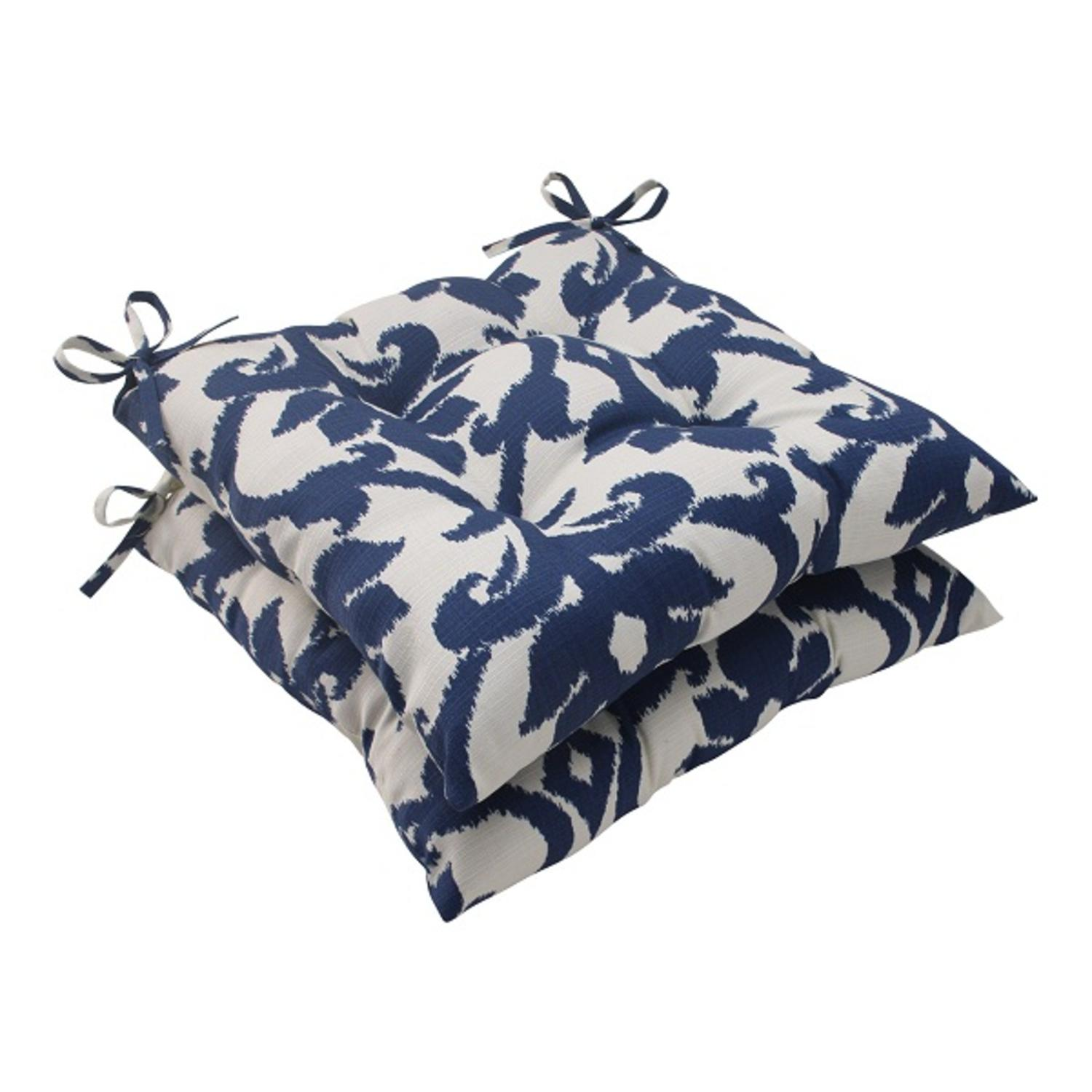 Set of 2 Victorian Navy Blue Outdoor Patio Tufted Seat Cushions with Ties 19""