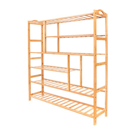 6 Tier Shoe Organizer for Closets, Shoe Storage, Upgrade Bamboo Shoe Shelf, Heavy Duty Boot Rack with 4 Stable Legs, Rustproof Shoe Stand for Entryway Foyer Closet Dormitory, 39