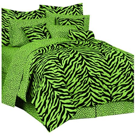 Zebra Print Bed Bed in a Bag - Lime Green and Black - XL Twin ()