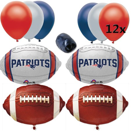 New England Patriots Super Bowl Football Balloon Decorating 17Pc Party Goer Pack