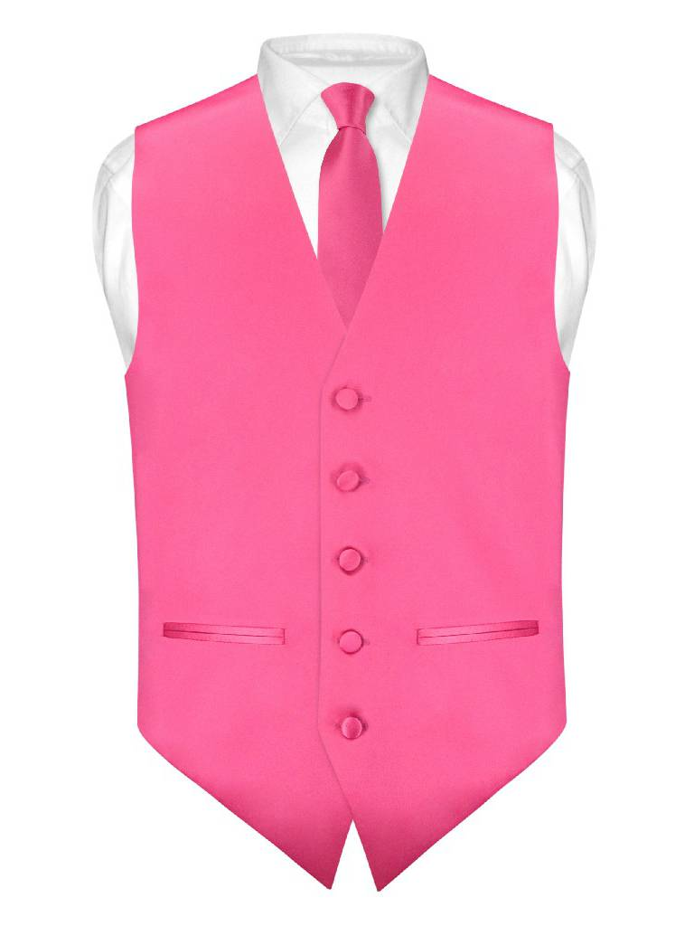 "Mens SLIM FIT Dress Vest Skinny NeckTie HOT PINK FUCHSIA 2.5"" Neck Tie Hanky Set"