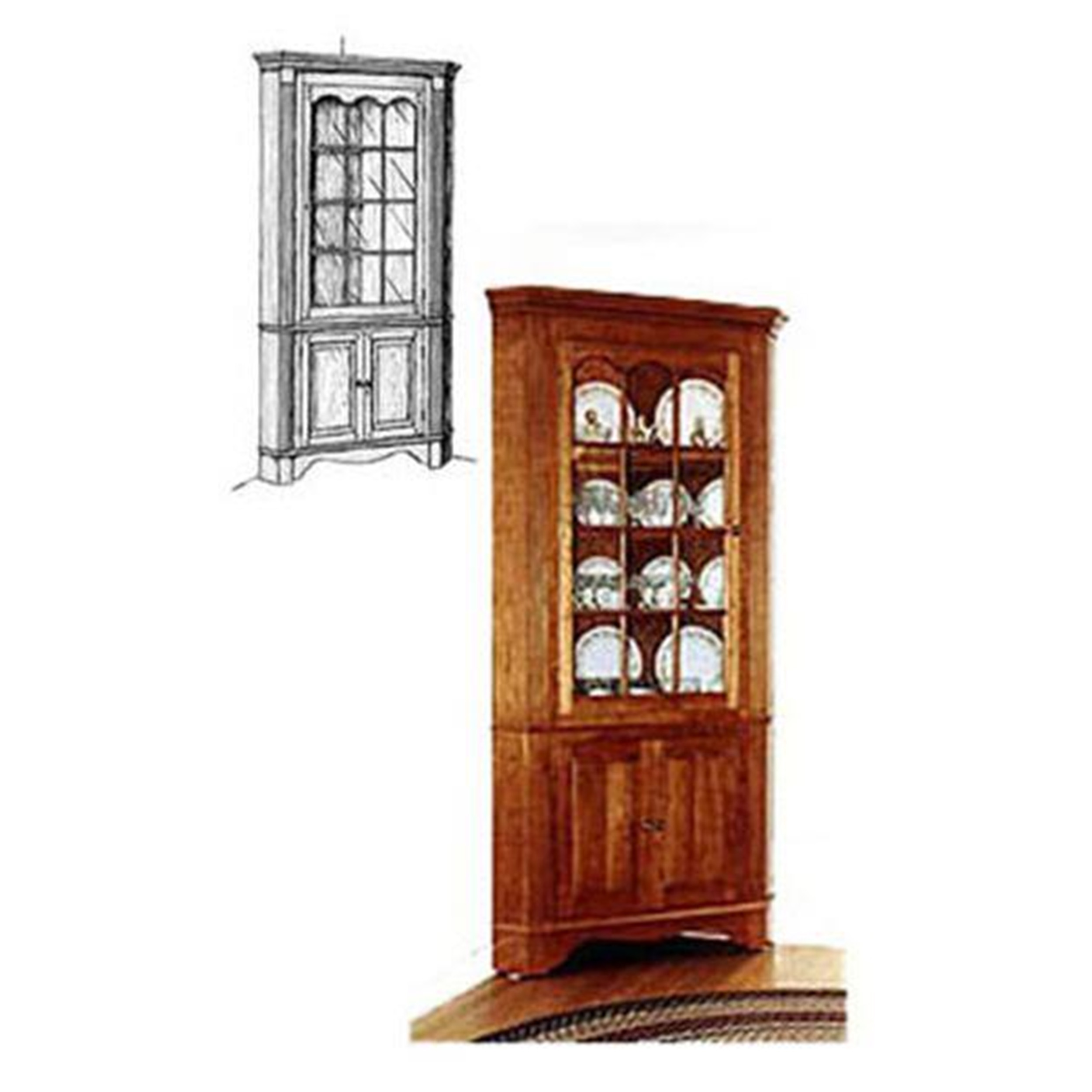 Superbe Woodworking Project Paper Plan To Build Colonial Corner Cabinet