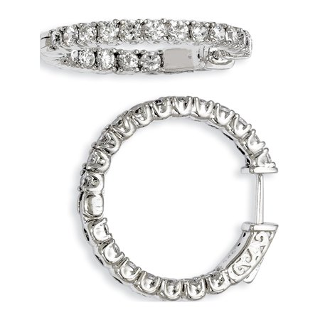 925 Sterling Silver Rhodium-plated CZ In and Out Hinged Hoop (23x24mm) Earrings - image 1 of 1