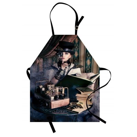 Gothic Apron Portrait of Steampunk Woman with Medieval Vintage Outfit Historic Fashion Art Photo, Unisex Kitchen Bib Apron with Adjustable Neck for Cooking Baking Gardening, Brown Teal, by Ambesonne - Gothic Outfit