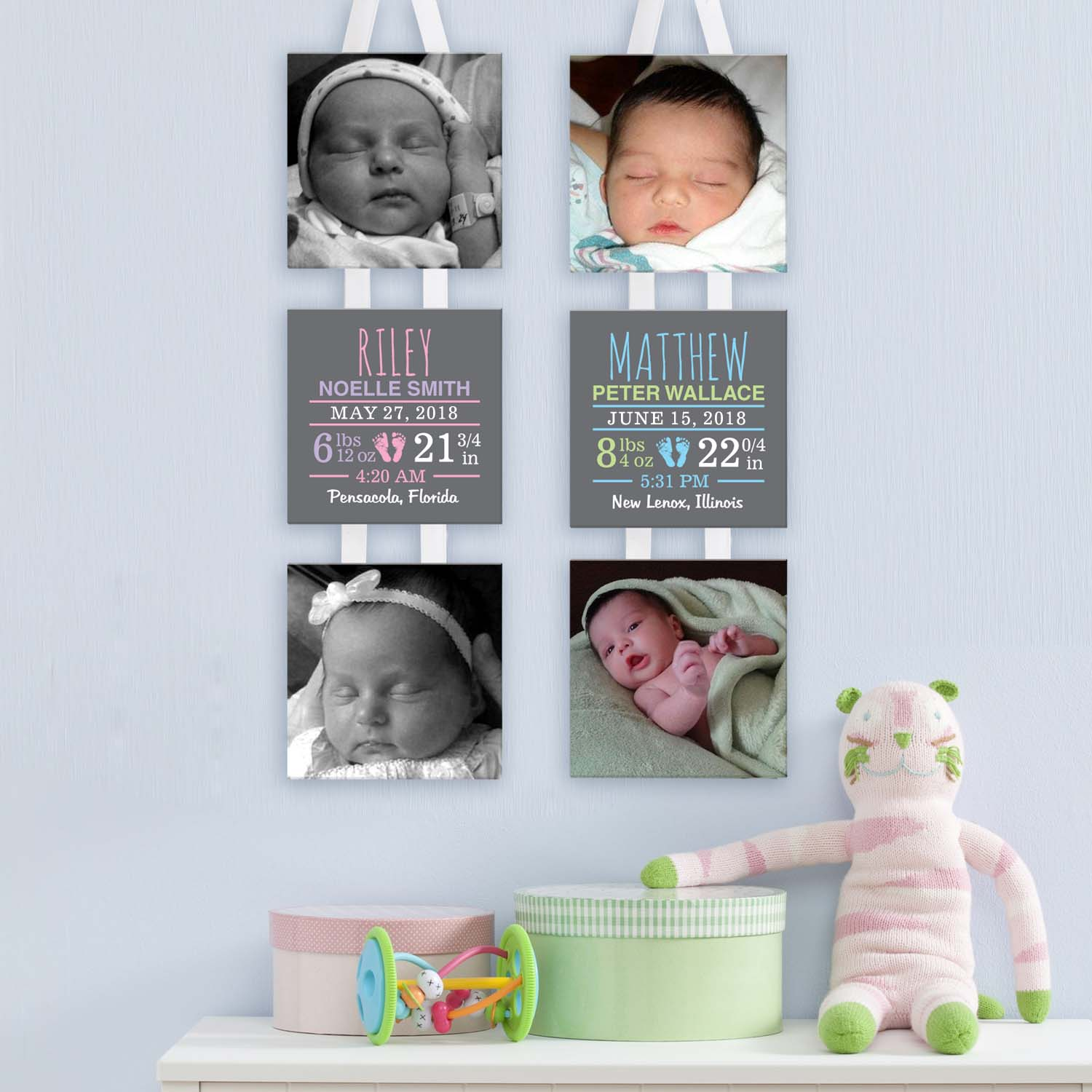 Personalized Baby Photo and Information Hanging Canvas, Available in Boy or Girl