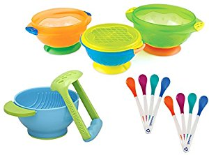 Munchkin 3 Count Stay Put Suction Bowl with 8 Pack White Hot Infant Safety Spoons and Mash & Serve Bowl by Munchkin