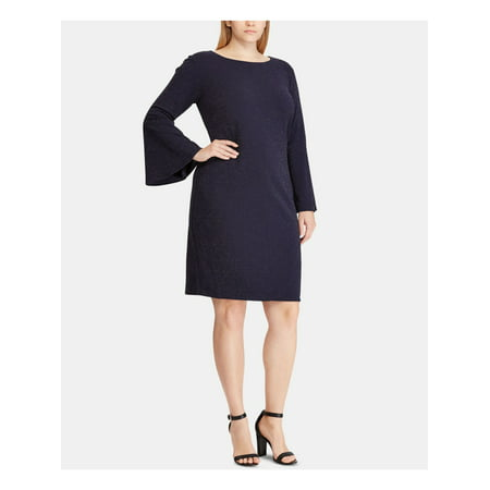 Metallic Knit Dress - RALPH LAUREN Womens Navy Metallic Knit Ponte Bell Sleeve Jewel Neck Above The Knee Wear To Work Dress Plus  Size: 20W