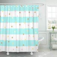 PKNMT Confetti with Golden Pink Star Bright Mint Stripe Pastel Holidays Shiny Bathroom Shower Curtains 60x72 inch