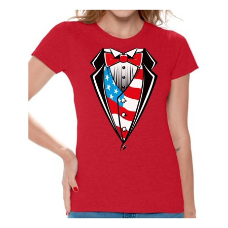 Ladies Tuxedo - Awkward Styles 4th of July Shirts Tuxedo American Flag T Shirt for Women USA Patriotic Tuxedo Shirt Women's USA Flag Tee Shirts Tops 4th of July Outfit for Women Fourth of July Gifts for Her