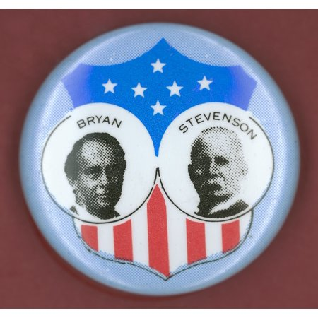 Bryan Campaign Button Ndemocratic Presidential Campaign Button From William J BryanS 1900 Bid For President With Vice Presidential Candidate Adlai Stevenson Poster Print by Granger Collection