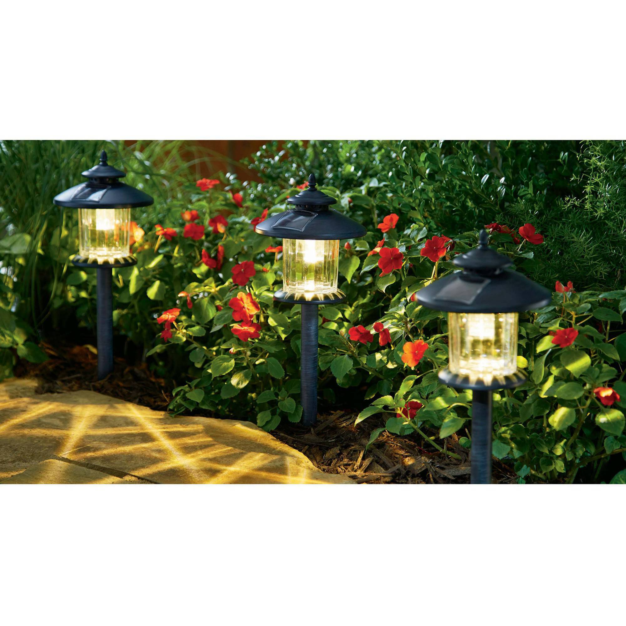 Better Homes and Gardens 3 Piece Covington Solar-Powered Landscape Light Set, Weathered Zinc by