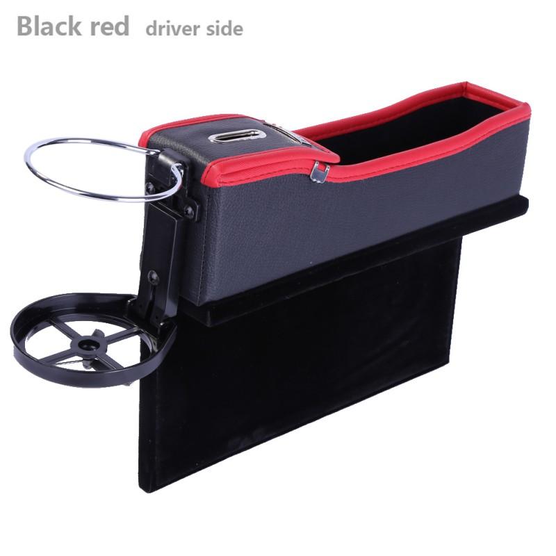 PU Leather Catcher Box Car Seat Slit Pocket Storage Box, Driver Side or Passenger Side