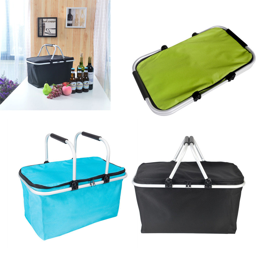 Zimtown Portable Picnic Lunch Thermal Insulated Bag Ice Cooler Box Storage Basket Tote