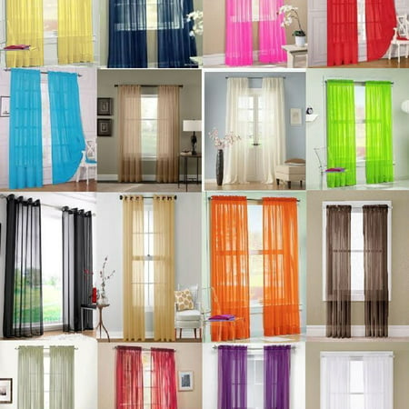Sheer Curtain Panels Set of 2, Solid Voile Sheer Window Curtains Scarf Drapes Door Bedroom Living Room Dividers Kitchen Home Decor, 13 Colors - Plastic Door Curtain