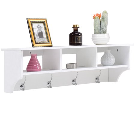 Costway Wall Mount Coat Rack Storage Shelf Cubby Organizer Hooks Entryway Hallway White ()