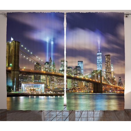 Apartment Decor Curtains 2 Panels Set, Manhattan Skyline with Brooklyn Bridge Towers of Light NYC United States, Window Drapes for Living Room Bedroom, 108W X 90L Inches, Puple Green, by (Brooklyn Light Set)
