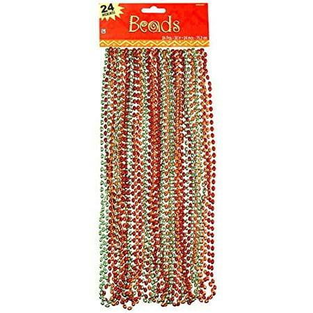 Amscan Cinco De Mayo Fiesta Party Metallic Beaded Necklaces (24 Piece), Multi Color, 17.3 x 6.5