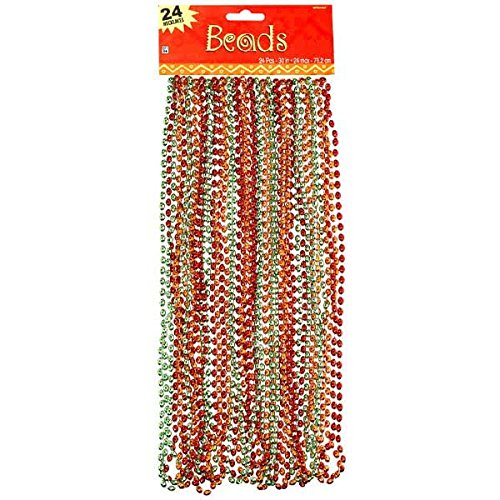 Amscan Cinco De Mayo Fiesta Party Metallic Beaded Necklaces (24 Piece), Multi Color, 17.3 x 6.5""