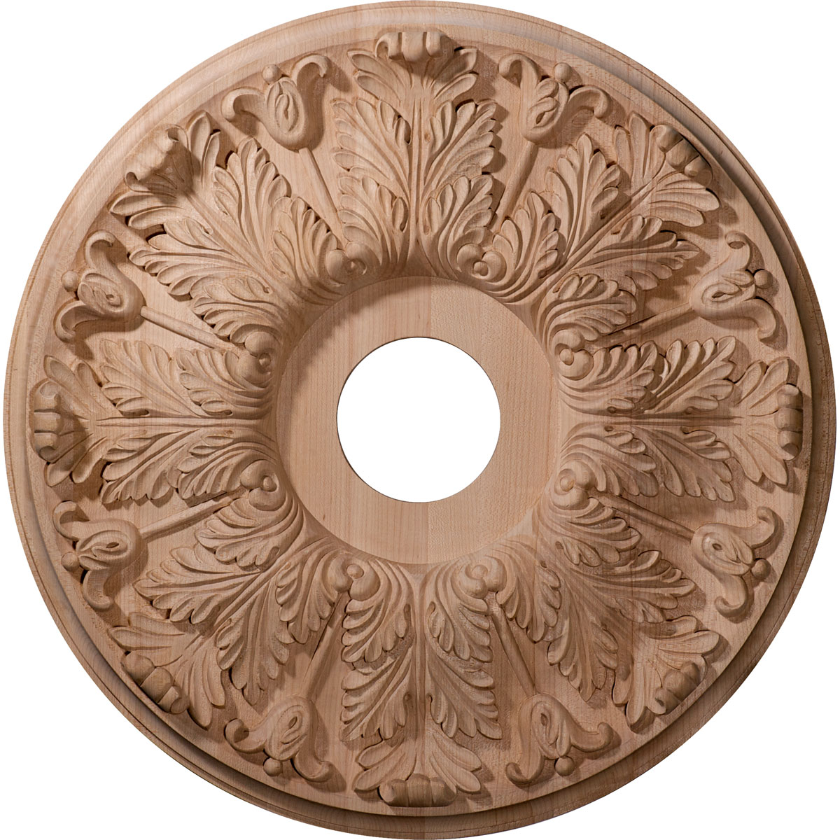 "16""OD x 3 7/8""ID x 1 1/8""P Carved Florentine Ceiling Medallion, Cherry (Fits Canopies up to 5 3/8"")"